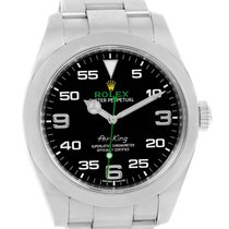 Rolex Air King Black Dial Green Hand Steel Mens Watch 116900...