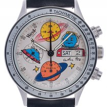Fortis West in Space Chronograph Stahl Automatik Armband Leder...