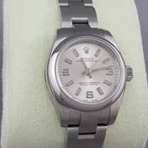 Rolex Oyster Perpetual Lady silver dial with pink inlay indexes