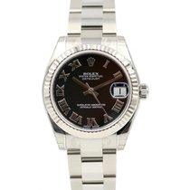 Rolex Datejust 178274 Ladies Midsize 31mm Black Roman 18k...