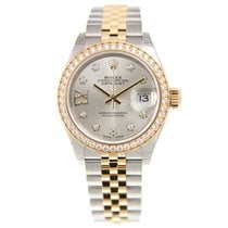 Rolex Lady Datejust Gold Steel Diamond Silver Automatic...