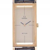 Omega De Ville Stahl Gelbgold Handaufzug Armband Leder 46x21mm...