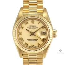 Rolex Datejust Yellow Gold Cream Roman Numeral Dial Fluted...