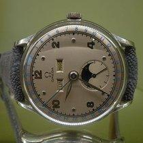 Omega vintage 1947 triple date moon steel ref 2471/1 cal 27 DL...