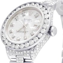 Rolex Ladies Rolex Datejust Oyster 26MM White MOP Dial Iced...