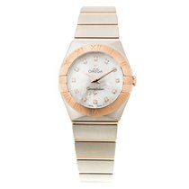Omega Constellation 18k Rose Gold And Steel White Quartz...