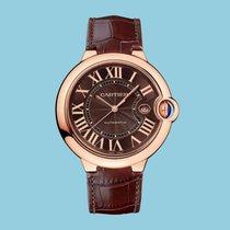 Cartier BALLON BLEU DE CARTIER 42 mm Rotgold Datum Braun Leder...