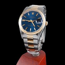 Rolex oyster date steel and gold men size blue dial