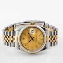 Rolex Men's Datejust 18K/SS Champagne Stick Fluted
