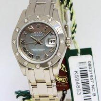 Rolex Masterpiece Pearlmaster 18k White Gold Diamond Tahitian...