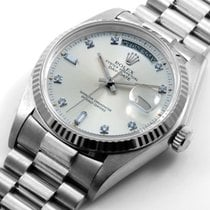 Rolex 18K White Gold Day-Date Factory 8+2 Diamonds 18039 Quickset