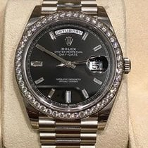 Rolex 228349RBR Day-Date 40 Baguettes Black Dial