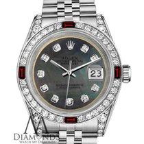 Rolex Ladies Rolex 26mm Datejust Stainless Steel Black Mop...