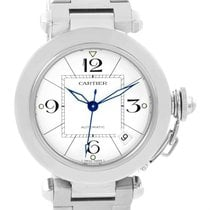 Cartier Pasha C White Dial Stainless Steel Date Watch W31074m7