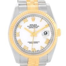 Rolex Datejust Steel 18k Yellow Gold White Roman Dial Watch...