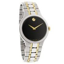 Movado Portfolio Mens Black Dial Two Tone Swiss Quartz Watch...
