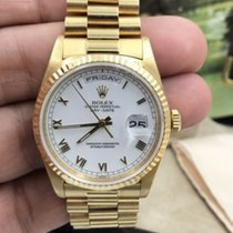 Rolex Day-date President 18k Yellow Gold Roman Dial W Serial...