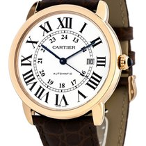 Cartier Ronde Solo XL 18KT Rose Gold Case Brown Leather Men...