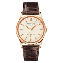 Patek Philippe Calatrava 37mm Rose Gold Watch Brown Leather Strap