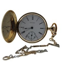 Waltham Classic Pocket Watch 14kt Yellow Gold White Porcelain...