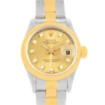 Rolex Datejus Ladies Steel 18k Yellow Gold Diamond Dial Watch...