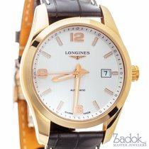 Longines Conquest Classic White Dial 18k Rose Gold Watch Date...