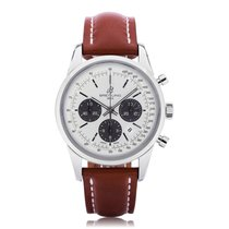 Breitling Transocean Chronograph Silver Dial Mens Watch...