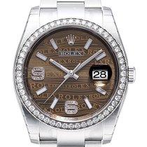 Rolex Datejust 36 Edelstahl Weißgold Diamant Lünette 116244...