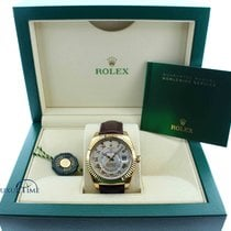 Rolex Mens Yellow Gold Sky Dweller Brown Leather Strap Champagne