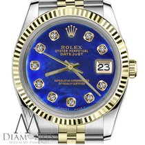 Rolex 36mm Datejust Mens 2tone 18k Gold & Steel W/ Blue...