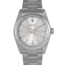 Rolex Oyster Perpetual Midsize Silver Baton Dial Ref: 77080