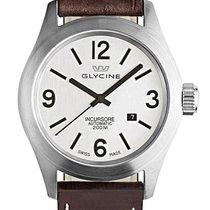 Glycine Incursore Automatic Steel Mens Brown Strap Watch Date...
