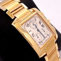 Cartier Tank Francaise Chronograph Chronoflex 18k Yellow Gold...