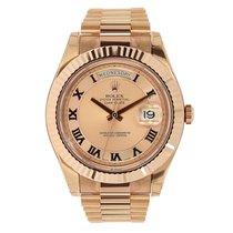 Ρολεξ (Rolex) DAY-DATE II 41mm 18K Rose Gold Pink Roman UNWORN