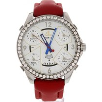 Jacob & Co. . Five Time Zones Diamond Bezel Red Leather Strap
