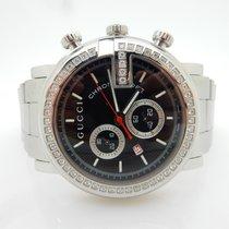 Gucci 101M Chrono .80cttw Diamond Bezel Stainless Steel Watch Y