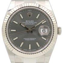 Rolex Datejust 41 126334 Dark Rhodium Index Fluted White Gold...