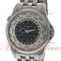 Patek Philippe World Time, Silver/Black Dial - White Gold on...