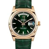 Ρολεξ (Rolex) Day-Date 36 118138-GRNL Green Index Leather...