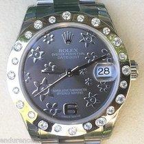 Rolex Midsize Datejust Steel Floral Dial Custom Scattered...