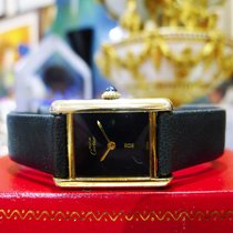 Cartier Must De Cartier Tank Vermeil Yellow Gold Black Dial Watch