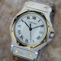 Cartier Santos Swiss Rare Mid Size 18k Gold Stainless Steel...