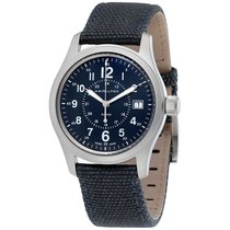 Hamilton Khaki Field Quartz Blue Fabric Strap Men's Watch...