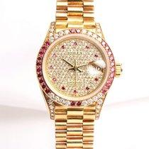 Rolex Lady DateJust 69038 Diamond & Ruby 18k Yellow Gold
