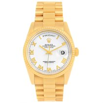 Rolex President Day Date White Dial Yellow Gold Watch 118238...