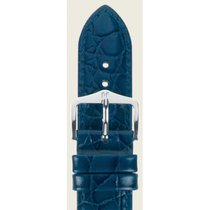 Hirsch Uhrenarmband Leder Crocograin blau M 112302880-2-16 16mm