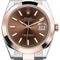 Rolex Datejust 41 126301 Chocolate Index Rose Gold Stainless...