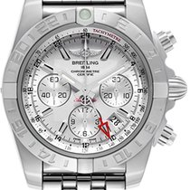 Breitling Chronomat 44 GMT Chronograph Silver Dial Full Steel NEW