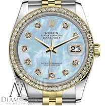 Rolex Womens Rolex 36mm Datejust 2 Tone Baby Blue Mother Of...