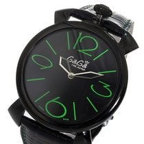 Gaga Milano マニュアーレ シン MANUALE THIN 46mm クオーツ メンズ 腕時計 5092.02 ブラック